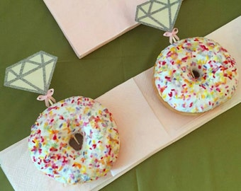 Diamond Engagement donut / doughnut or cupcake toppers for weddings bridal showers or engagement party