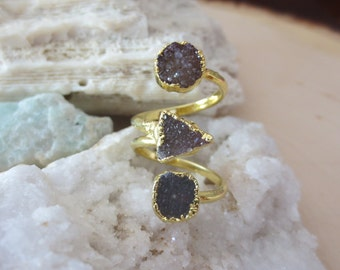 Druzy ring, druzy gold ring, triple druzy ring, statement ring
