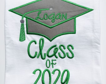GRADUATION CAP CLASS of with Year-Personalized Embroidered Bodysuit or T-Shirt-Adults and Kids-Any colors
