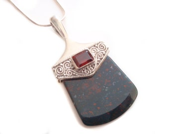 Bloodstone Pendnant and Chain, Princess Cut RUBY Sterling Necklace, Italian Silver, Vintage Statement Necklace, Tribal Silver