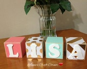 Coral, Mint and Gold Girl Personalized Name Wooden Belly Letter Blocks Baby Nursery Decor Newborn-Maternity Photo Shoot Prop- Pregnancy