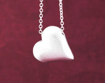 Puffed Heart Necklace, Silver Heart Necklace, Silver Heart Pendant, Love Necklace, Heart Shape Necklace, Silver Heart Jewelry, Heart Pendant