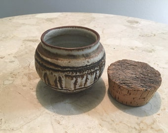 Mid Century Pacific NW Nels and Betty Mears studio pottery jar and cork lid