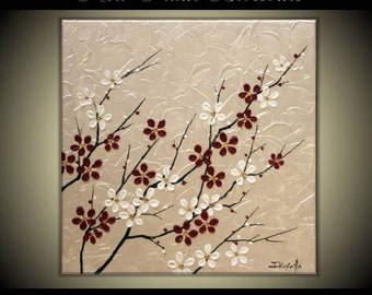 "Original Modern Art  Painting on Gallery wrapped Canvas 20"" x 20"", Home Decor, Wall Art --- Plum Blossoms---"