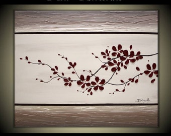 "Original Modern Art  Painting on Gallery wrapped Canvas 30"" x 24"", Home Decor, Wall Art -- Red Blossoms---"
