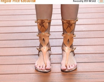 50% OFF Leather Gladiator Sandals, Womens Gladiator Sandals, Natural Leather Gladiator Sandals, Greek Warrior Gladiator Sandals, Tall Sandal
