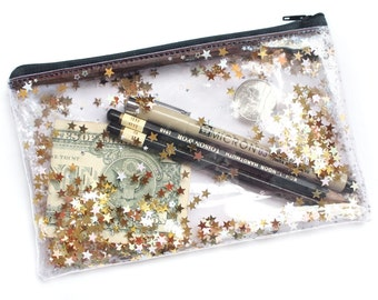 Golden star / Pencil case, Transparent wallet, Clear bag, Purse organizer, glitter bag