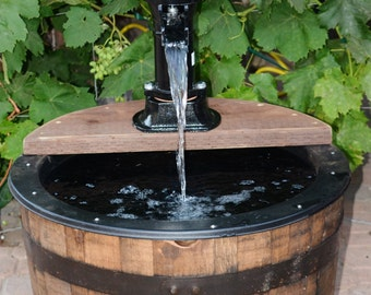 1 2 Wine Barrel Fountain Old Fashion Water Pump