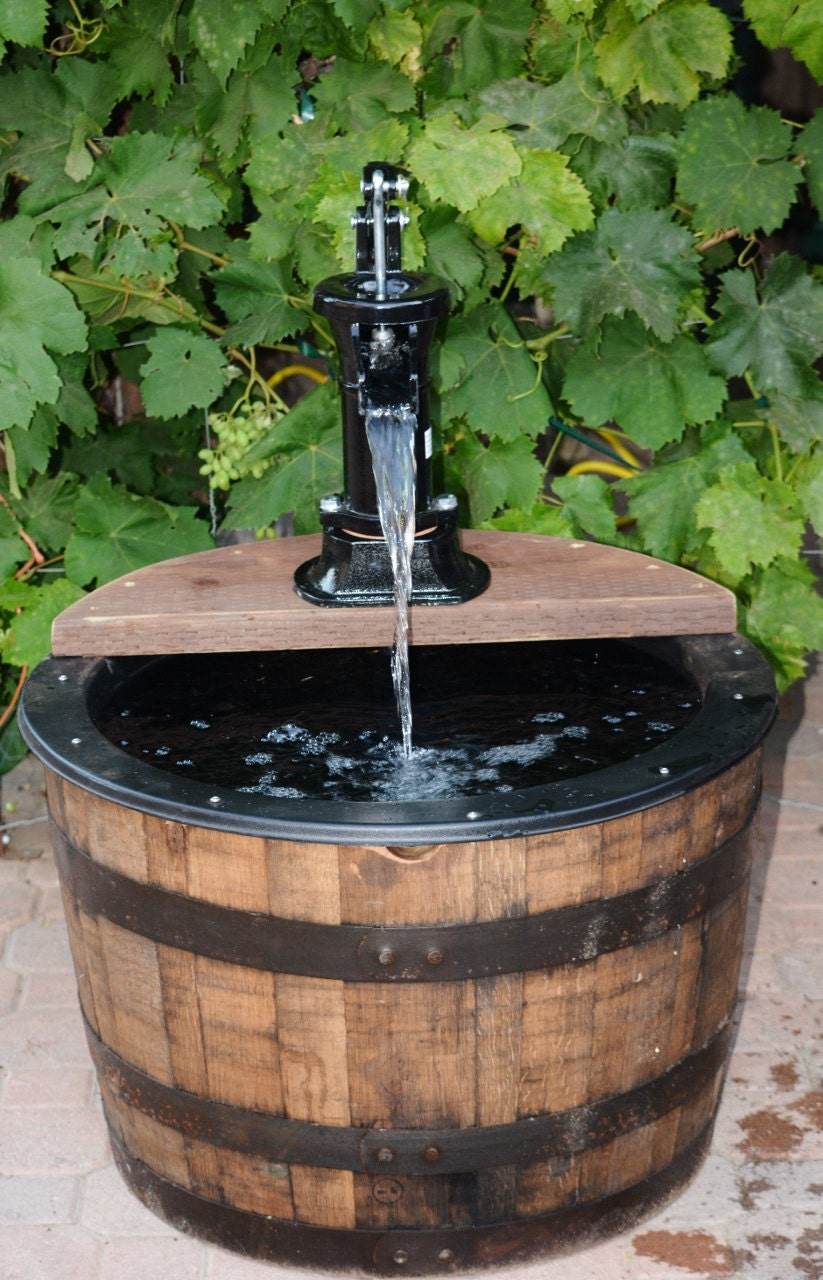 1 2 Whiskey Barrel Fountain Old Fashion Water Pump