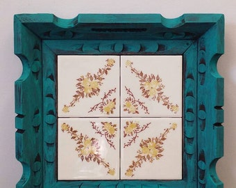 Upcycled Vintage Mexican Wood and Tile Tray Large Turquoise