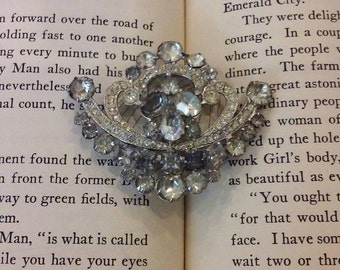 Antique Art Deco Rhinestone Pendant Brooch