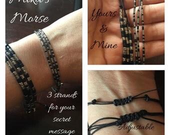 Yours & mine secret morse code message bracelet!