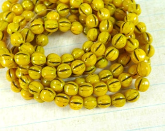 Czech Beads, 6mm Druk Melon, Czech Glass Beads - Mustard Yellow Picasso (D6M/N-0100) - Qty 25