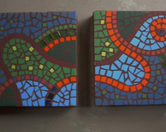 """Organic abstract mosaic, Ready to Ship, exterior garden stepping stone,12"""" square, exterior tile and glass, set of 2"""