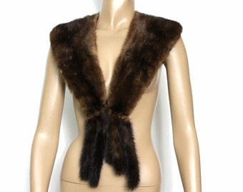 Vintage Mink Fur Collar With Tails Satin Lined Real Fur Mad Man Old Hollywood Garden Party Femme Fatale