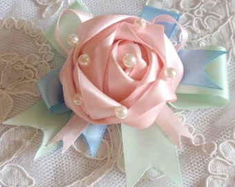 Handmade Ribbon Flower With Bow Ribbon Rose With Pearl MY-433-11 Ready To Ship