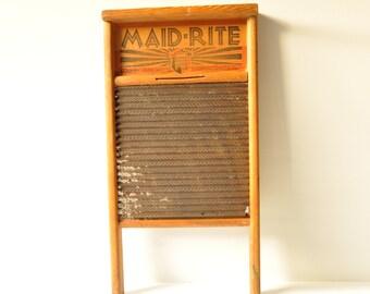 Vintage Washboard Maid Rite Washboard Columbus Washboard Company Farmhouse Decor Laundry Room Decor Antique Washboard Galvanized Washboard