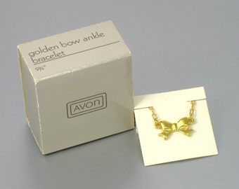 Vintage AVON 'Golden Bow' Ankle Bracelet (1988) with original box. Avon Ankle Bracelet. Vintage Bow Anklet. Vintage Avon Jewelry