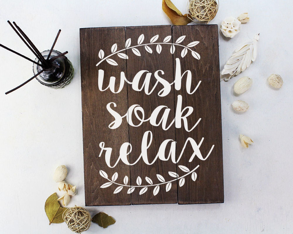 Bathroom Wall Decor Etsy : Wash soak relax wood sign bathroom wall art