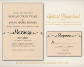 DIY Printable Wedding Invitation Template, Easy DIY Printable, Microsoft Word Invitation, Instant Download, Script Calligraphy (ID7)
