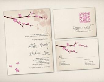 Wedding Invitation, Asian Chinese Wedding, Modern Vintage Rustic, Pink Sakura Spring Floral (WI1)