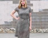 SALE vintage dress set / 40s dress large / 1940s day dress / 1940s shirtwaist dress / 1940s cotton dress / shirt waist dress