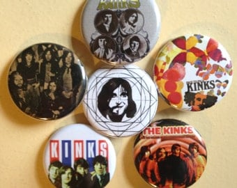 """The Kinks pin back buttons 1.25"""" set of 6"""