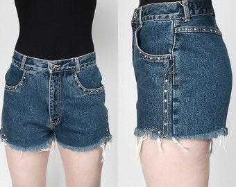 Bedazzled High Waist Denim Cutoff Shorts