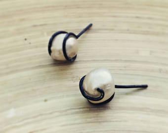 Pearl earrings Bohemian rough gemstone stud earrings Alice in Wonderland earrings June Birthstone posts gift for her handmade