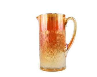 Vintage 1930s Flaming Tree Bark Carnival Glass Pitcher Imperial Glass Co. Iridescent Marigold Starburst Bottom