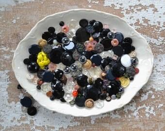 Vintage Glass Button Lot - Black Bulk Antique Shank Painted Diminutive Set 126