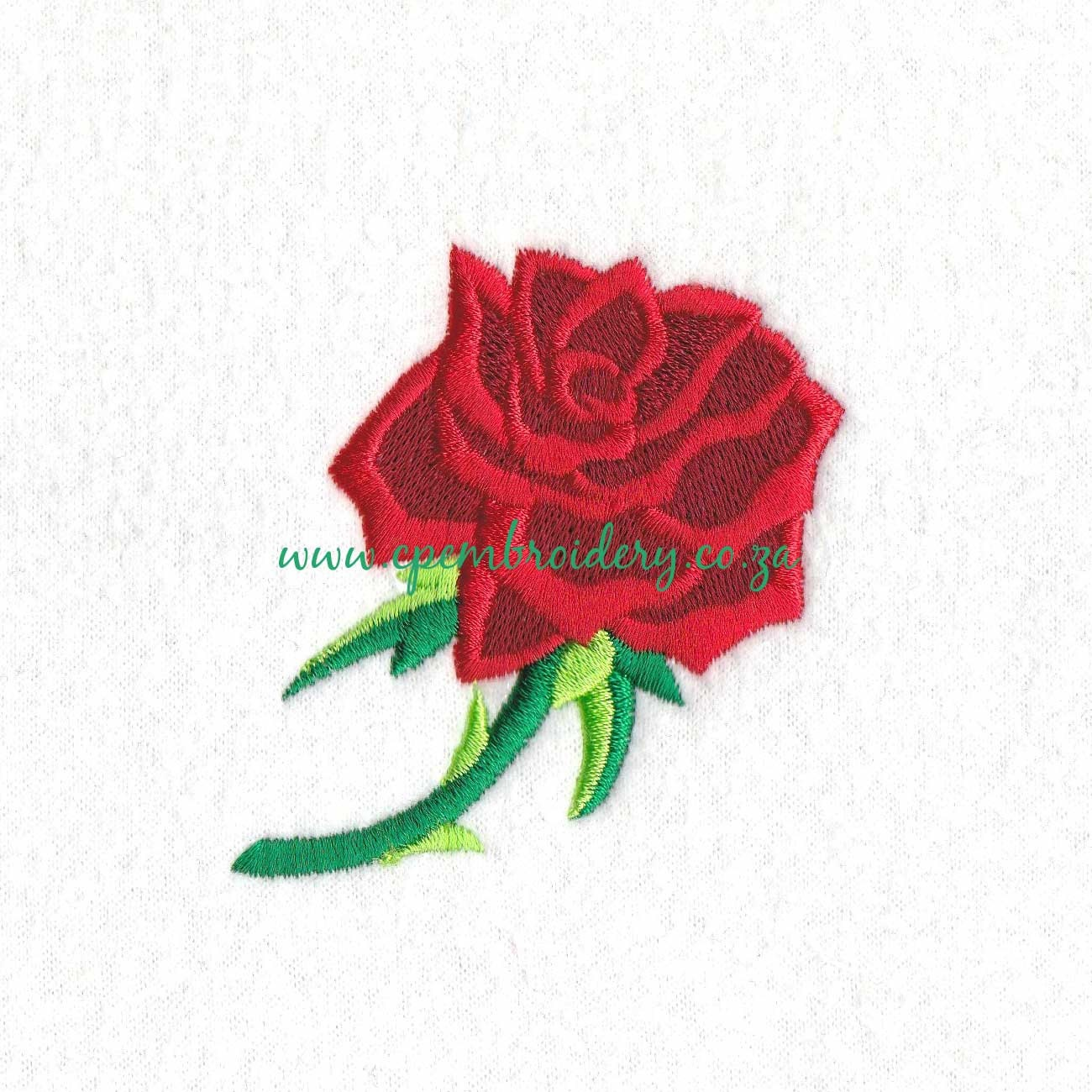 Single red rose with green stem machine embroidery download