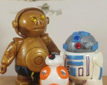 R2D2, C3PO, & BB8 for Fairy Garden, Cake Toppers OOAK handmade