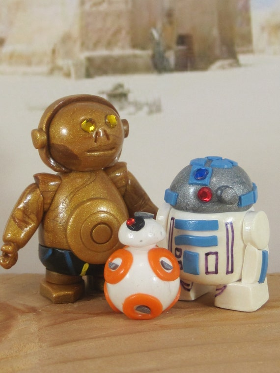 r2d2 and bb8 wedding cake topper r2d2 c3po amp bb8 for garden cake toppers ooak handmade 18949