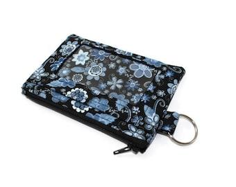 Blue Floral ID Wallet / Keychain ID Wallet / ID Holder