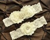 SALE Wedding Garter Set, Bridal Garter Set - Ivory Lace Garter, Keepsake Garter Toss Garter, Ivory Wedding Garter, Ivory Wedding Garter Belt