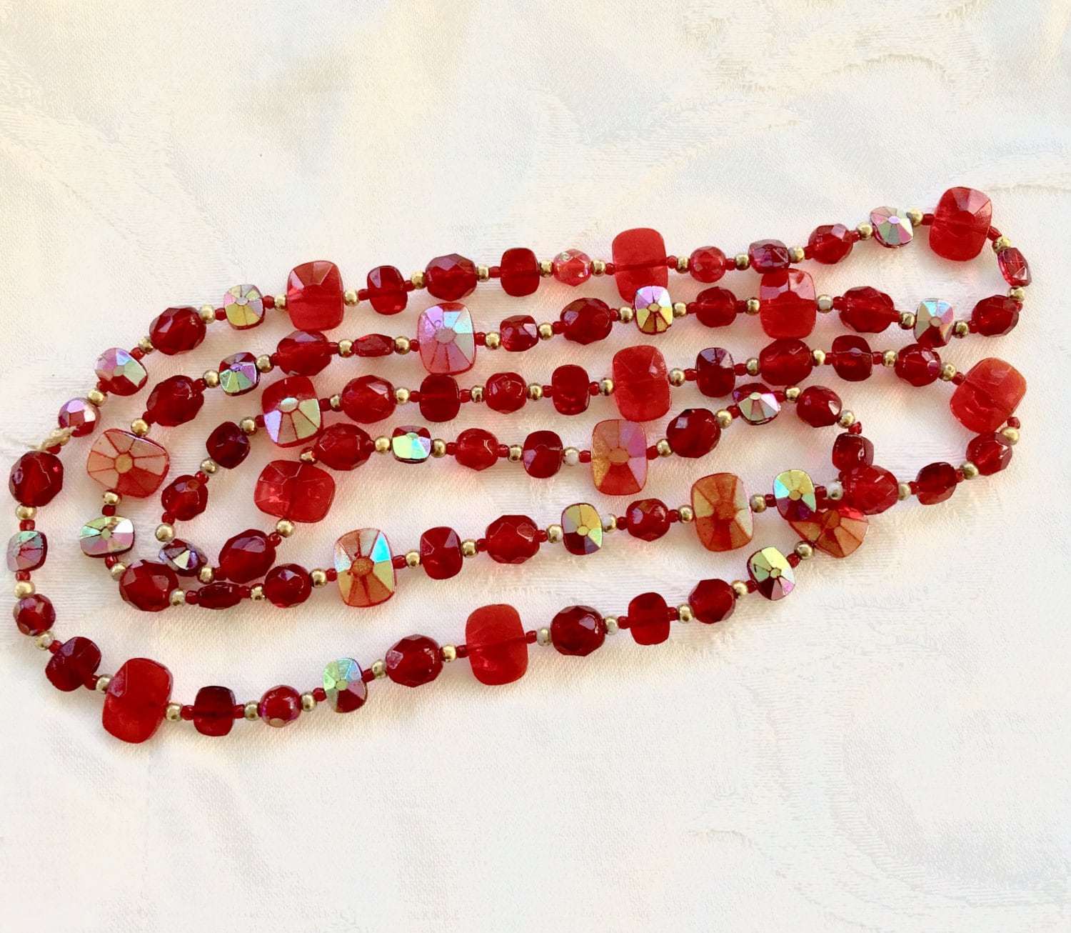 Red Ruby Beads: Vintage Glass Bead Necklace Red Clear And Iridized Ruby Red
