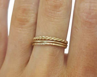 Gold Thin Stacking Rings- Set of 3