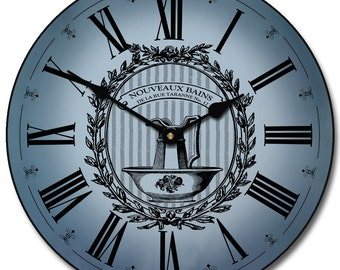 Powder Room Blue Wall Clock