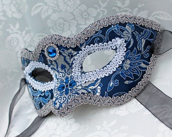 Blue Satin Masquerade Mask, MADE to ORDER Royal Blue and Silver Satin Brocade Party Mask