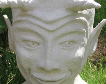 """Planter, planting head """"Faun"""", sculpture, Garden sculpture - unique"""
