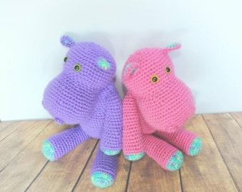 Crochet Hippo Plush - Hippo Stuffed Animal - baby Gift - Baby Shower Gift - Hippo Doll- Jungle Nursery - Toy Hippo - Birthday Gift