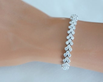 Crystal Bridal Bracelet, Bridal tennis bracelet crystal, Crystal Wedding Bracelet, Bridesmaid Bracelet, Bridal Accessories
