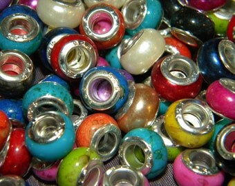 NEW 11.0mm mixed 30/ Per Lot mix ofcolors and styles European Charm spacer beads 925 core large hole