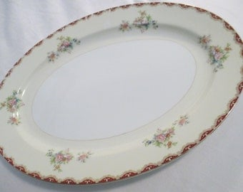 "Vintage Royal Embassy China Rutland Oval Serving Platter 16"""