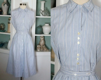 1950s Dress Set / Vintage 50s Baby Blue and White Striped Cotton Sleeveless Blouse and Pleated Full Skirt Dress / Sun Dress / Rockabilly - M