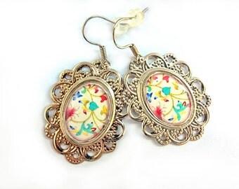 Resin cabochon earrings