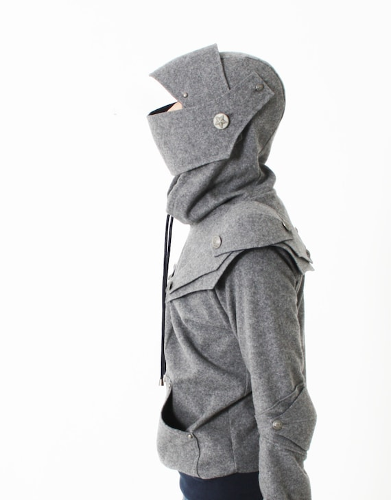 Arthur Medieval Knight Armored Pullover Hoodie(100% Handmade Wool) Made To Order/husband gift/knighthoodie/fashion gift/rockabilly