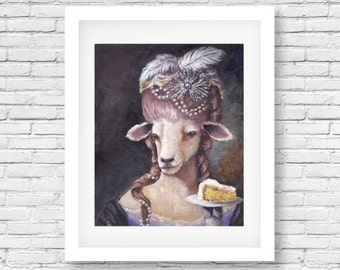 Let Them Eat Cake/ Sheep watercolor/ Marie Antoinette/ Animals in clothes