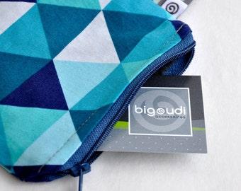 White turquoise blue purse triangles - corner POUCH white turquoise blue triangles